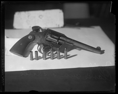 David Clark's gun. Weapon allegedly used to murder Herbert Spencer and Charles Crawford