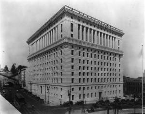 Hall of Justice, showing Broadway and Temple St. elevations. Old Hall of Justice showing its south elevation is seen in lower right background, behind county jail.  [LAPL Photo]