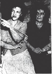 "Mrs. Jewell Lorange, left, and Miss Germaine Le Gault presented possible clue to slaying of Mrs. Louise Springer in reporting ""three men in black car."""