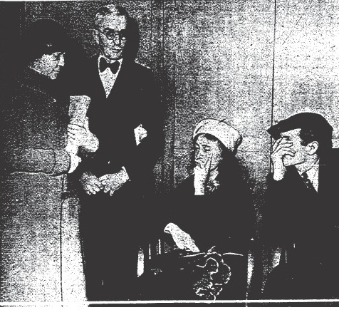 Mrs. Mary B. Skeele, accompanied by her husband, Dr. Walter P. Skeele, faces her abductors.