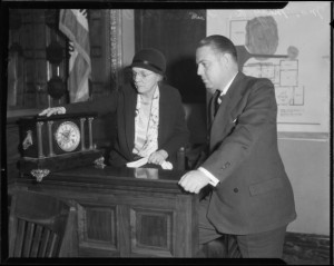 Surprise witness -- the clock!  [Photo courtesy of UCLA Digital Archive]