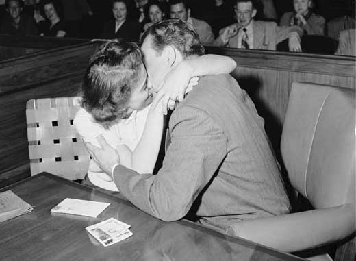 Barbara and Robert in court. [Photo courtesy of USC Digital Collection]