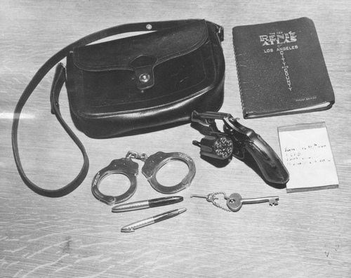 Contents of a policewoman's handbag c. 1952 [Photo courtesy of LAPL]