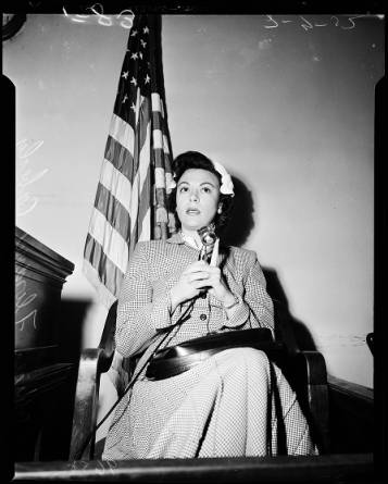 Florence Coberly testifies at inquest. [Photo courtesy USC Digital Archive]