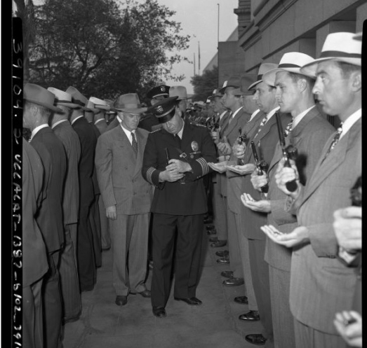 LAPD Chief C.B. Horrall inspecting Detective Division c. 1947.  [Photo courtesy UCLA Digital Collection.]