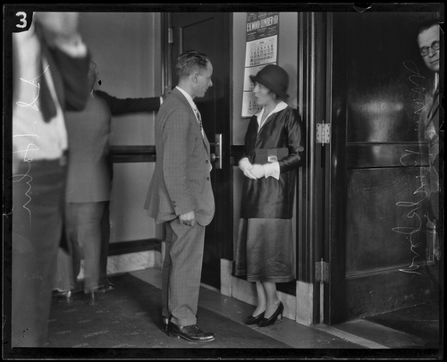 Mary Pickford conferring with defense attorney S.S. Hahn. [Photo courtesy of UCLA Digital Collection]