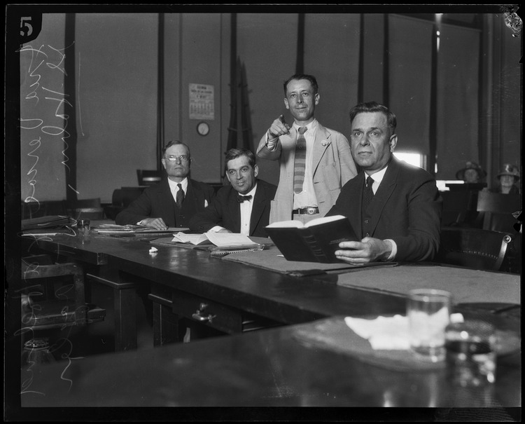 Defense attorneys Vercoe, Holland, Hahn and Aggeler [Photo courtesy of UCLA Digital Collection]