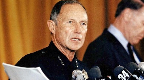 Chief Daryl Gates at a press conference.