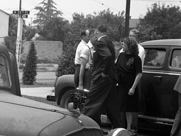 Aggie at a crime scene in 1946.