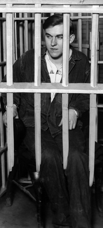 """Northcott sitting in his cell at the Los Angeles County Jail on December 1, 1928, the cell which was occupied by William Edward Hickman, the """"Fox"""". Here he was relentlessly questioned. He said, """"I'm a misfit, and once a misfit always a misfit.""""  [Photo courtesy LAPL]"""