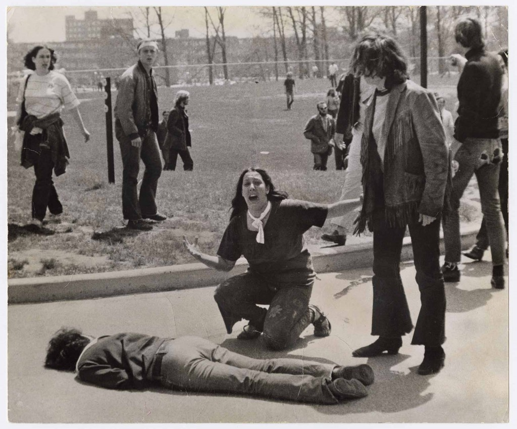 John Filo's Pulitzer Prize-winning photograph of Mary Ann Vecchio, a 14-year-old runaway kneeling over the body of Jeffrey Miller minutes after he was shot by the Ohio National Guard.