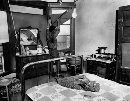 Interior of Skid Row Hotel. [Photo courtesy of LAPL]