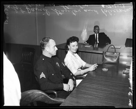 Florence seated next to her husband, Sgt. Dave Stanton. [Photo courtesy USC Digital Archive]