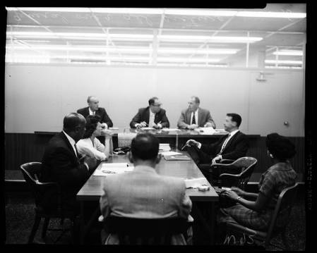 This photo may have been misidentified in the USC Digital Archive. I believe it to be the Police Board hearing.