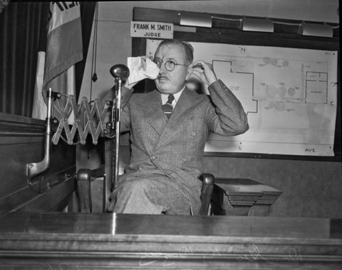 George Dazey on the witness stand. [Photo courtesy of UCLA digital collection]